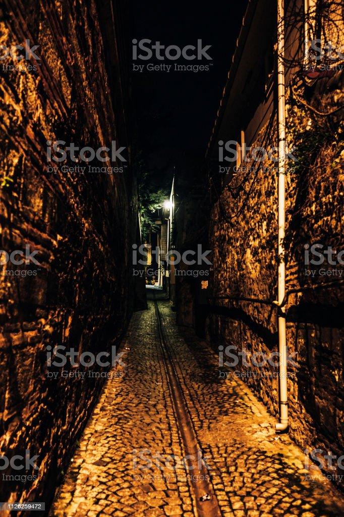 Dark alley - Istanbul, Turkey stock photo