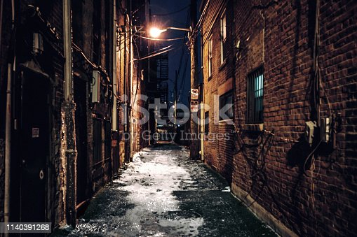 Dark alley in North Pittsburgh, Pennsylvania, USA