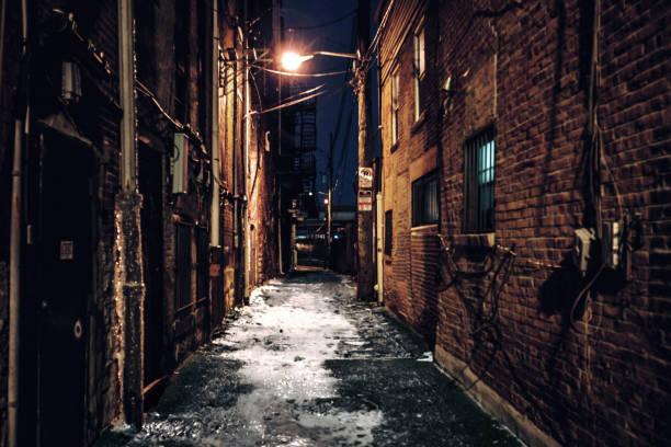 Dark alley - Pittsburgh, PA stock photo