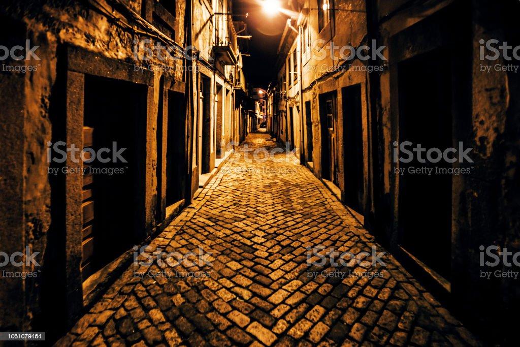 Dark alley - Viana do Castelo, Portugal stock photo