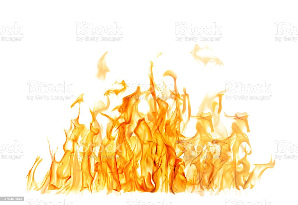 dark and bright orange fire on white background stock photo