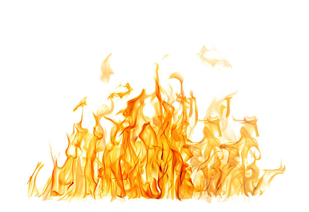 dark and bright orange fire on white background - vlam stockfoto's en -beelden