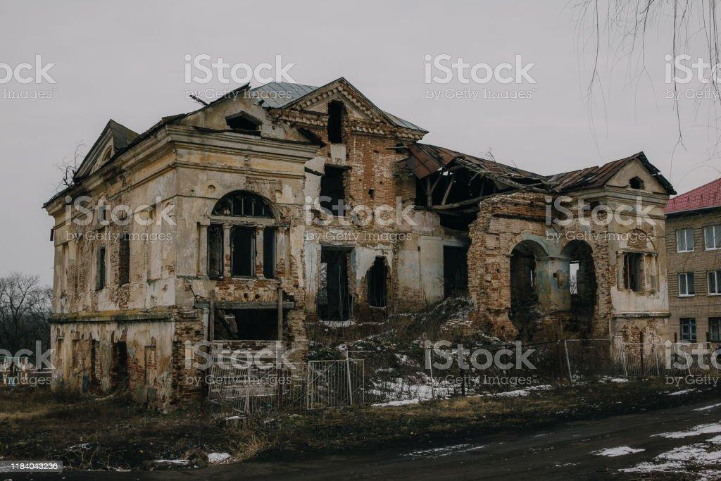 Dark And Creepy Old Abandoned Mansion Gorozhanka Former Venevitinov Manor Voronezh Region Stock Photo Download Image Now Istock