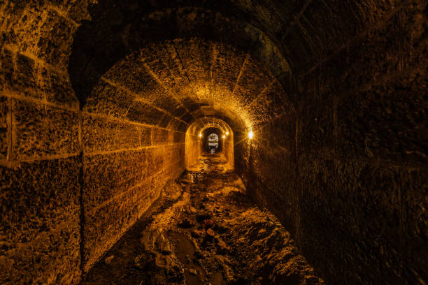 dark and creepy old historical vaulted flooded underground drainage tunnel - crypt stock pictures, royalty-free photos & images