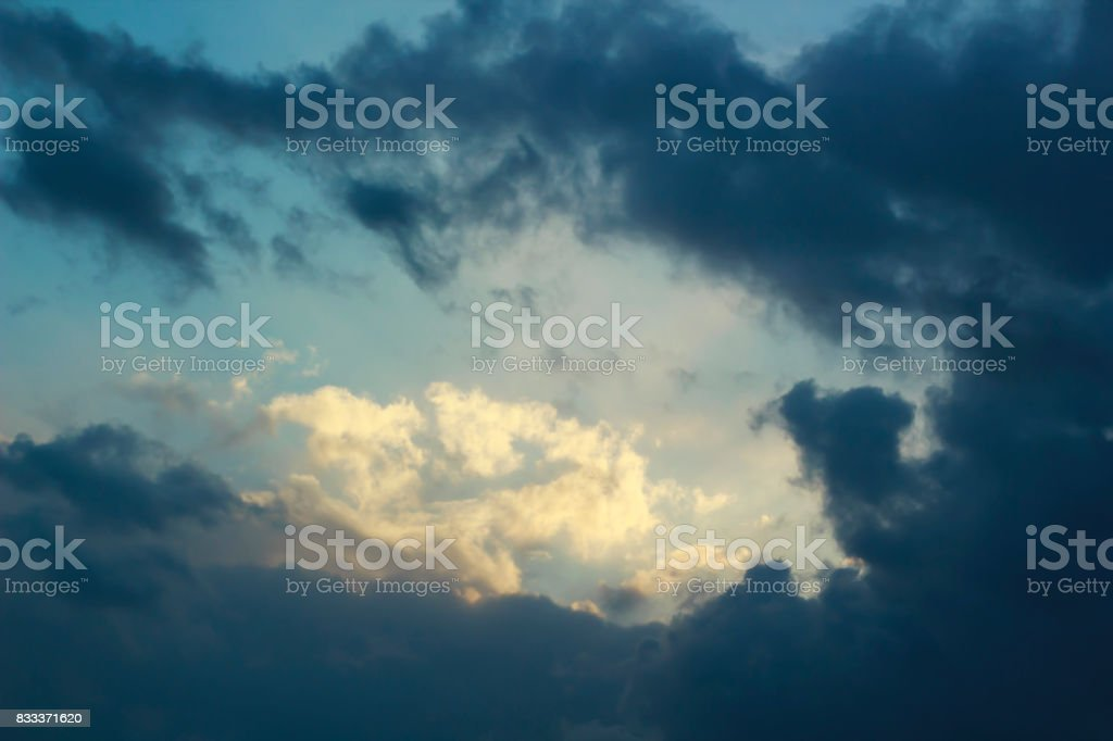 Dark and dramatic storm clouds on blue sky after rain background