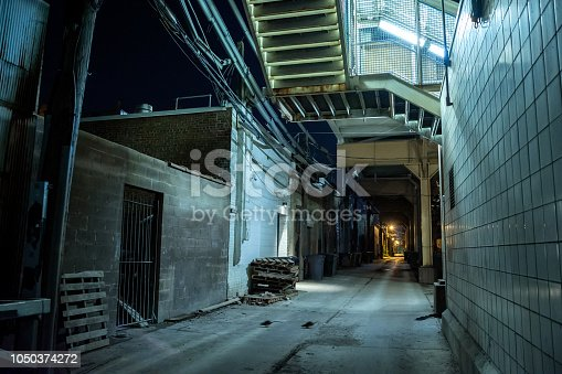 Dark and eerie urban city alley at night with rats running across
