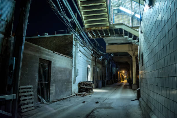 Dark and eerie urban city alley at night with rats running across stock photo