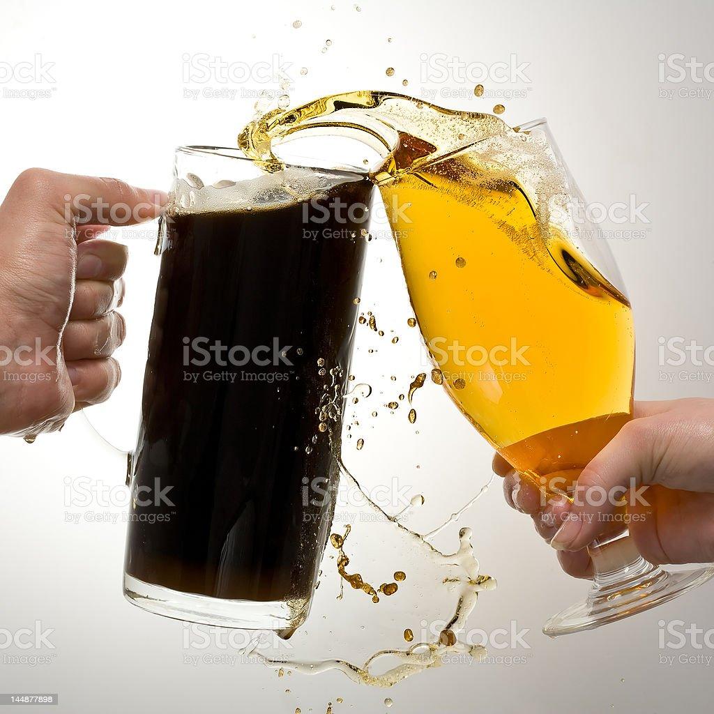 Dark and light beer. stock photo