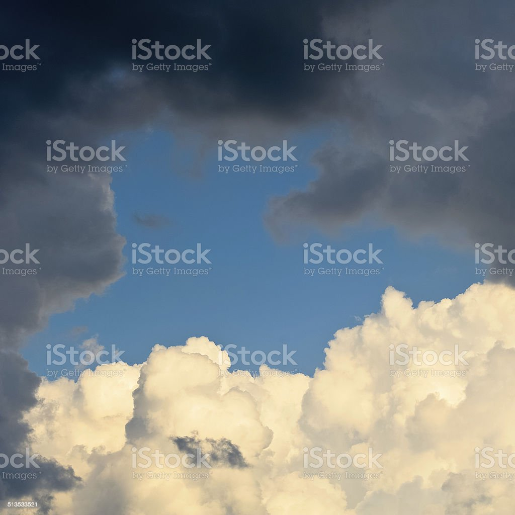 Dark and light clouds before a thunderstorm stock photo