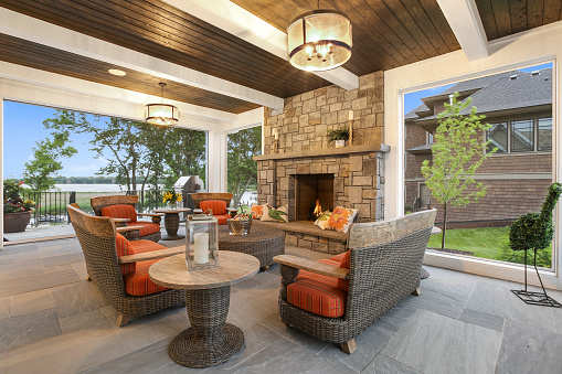 Fireplace and comfortable seating as the day is winding down
