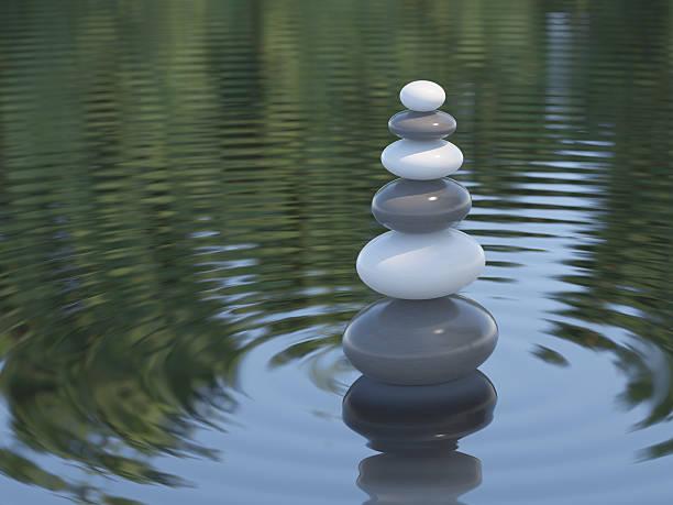 Dunkle und weiße Zen Steine in einem See – Foto