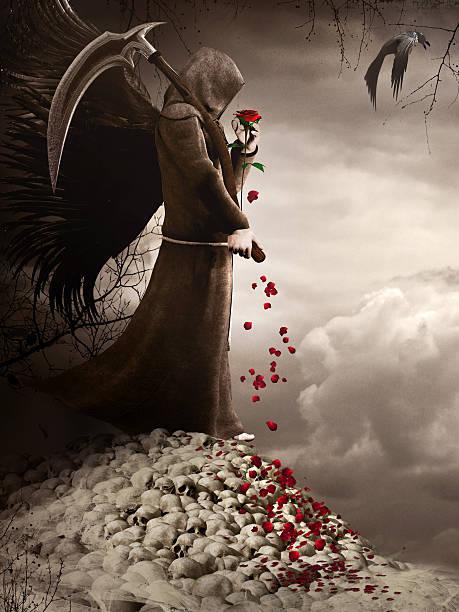 Dark Angel and red rose stock photo
