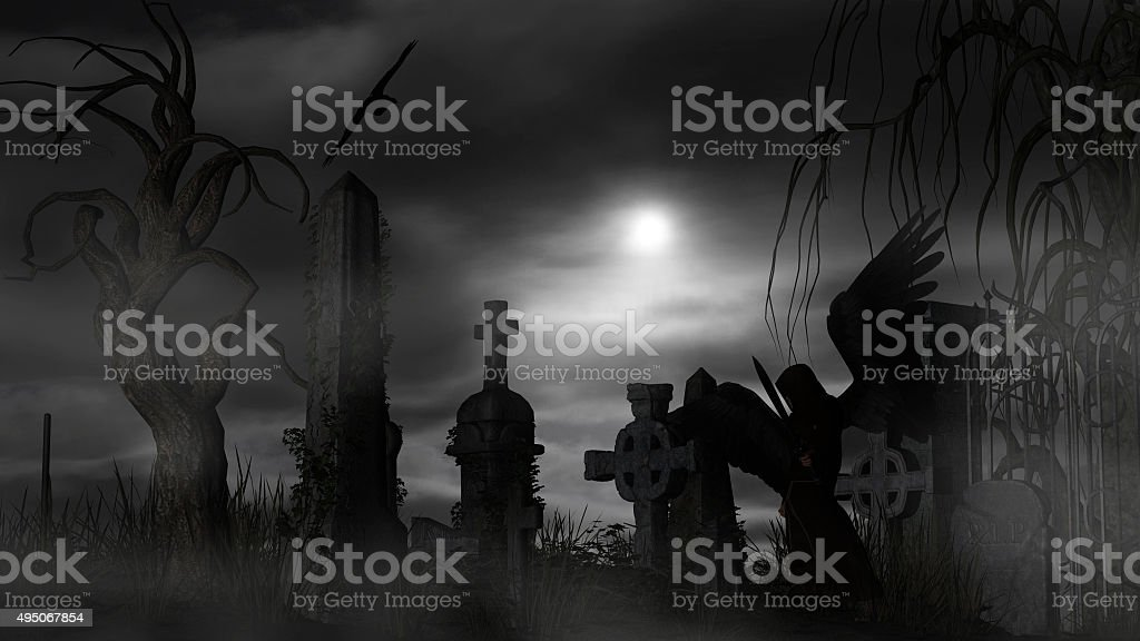 Dark Angel at a graveyard on a foggy night stock photo
