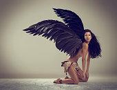 istock Dark angel of beauty 521729345