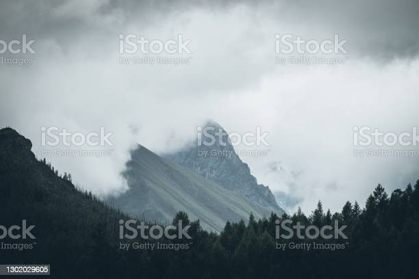 Photo of Dark atmospheric landscape with high rocky mountain top among big low clouds. Dark forest silhouette on background of rock in gray cloudy sky. Gloomy view to dark mountain peak in overcast weather.