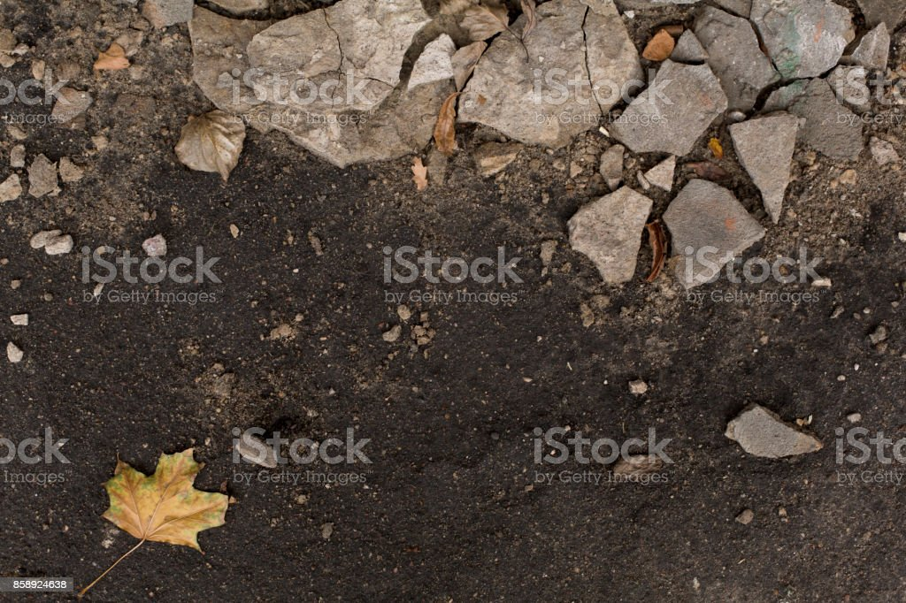 Dark autumn damp ground with pieces of plaster royalty-free stock photo