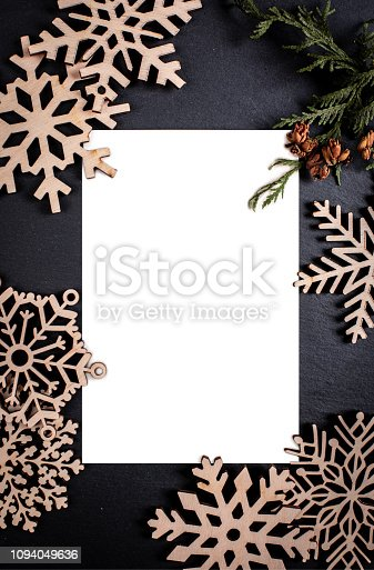 istock Dark backgroun with postcard frame. Framing 1094049636