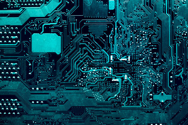 Dark background of the silhouette of the computer motherboard for the design of the company's IT site. Circuit board. Electronic computer hardware technology. Motherboard digital chip. stock photo