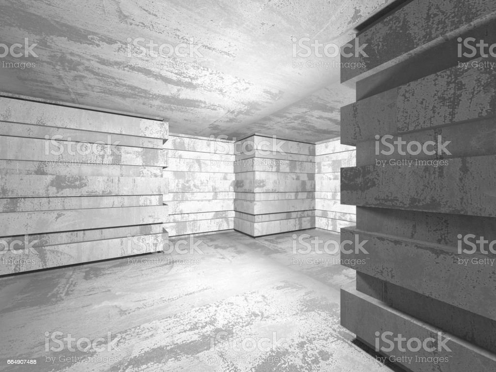 Dark basement empty room interior. Concrete walls foto stock royalty-free