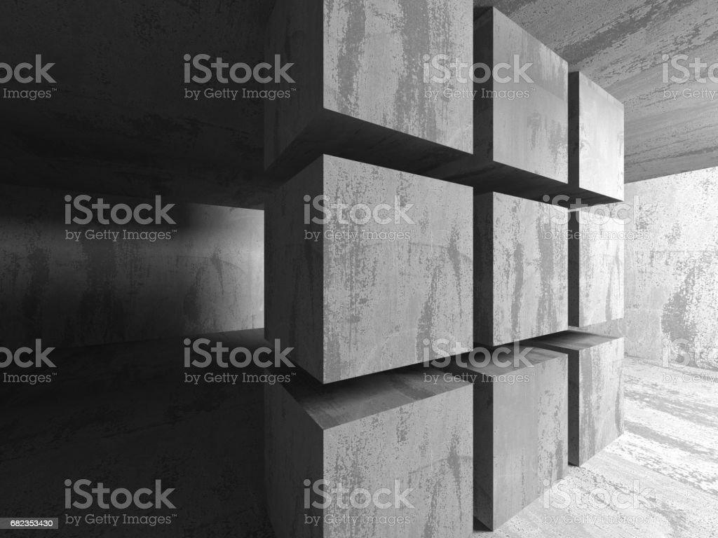 Dark basement empty room interior. Concrete walls royaltyfri bildbanksbilder