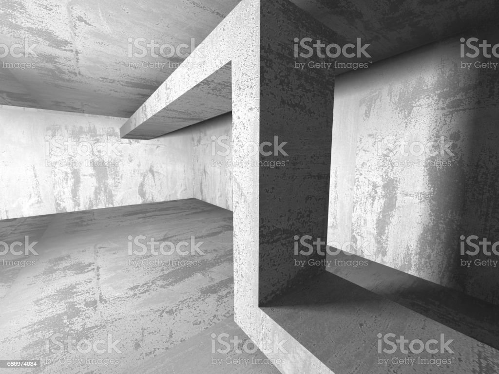 Dark basement empty room interior. Concrete walls Lizenzfreies stock-foto