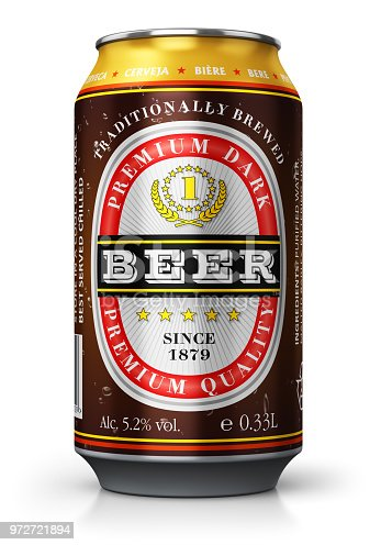 istock Dark beer can isolated on white background 972721894