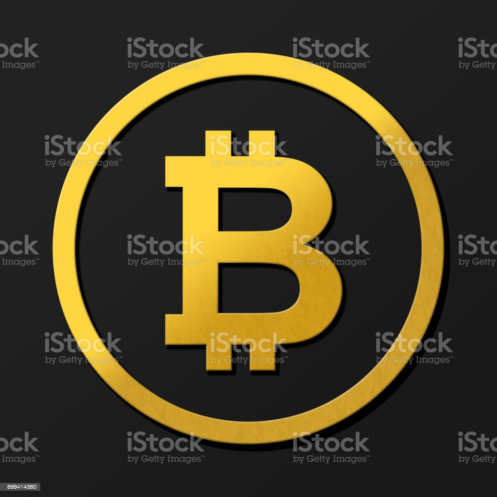 Dark bitcoin 3D coin logo illustration in gold with shadows.  Rendering with shading and high closs golden B symbol concept. stock photo