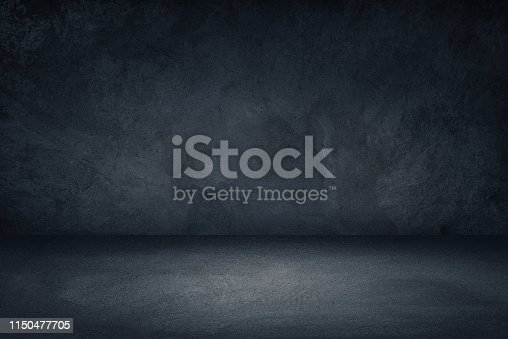 Studio room, Floor and wall background, Dark black and blue grungy background for display or montage of product.