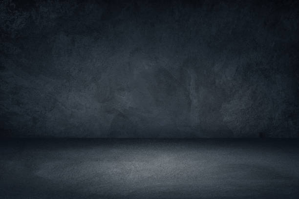 dark black and blue grungy wall background for display or montage of product - empty room zdjęcia i obrazy z banku zdjęć