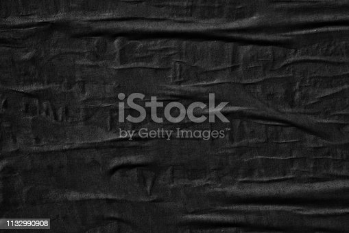istock Dark black blank paper backgrounds creased crumpled surface old torn ripped posters grunge textures placard 1132990908