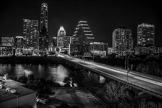 Dark Black Night Time Austin Texas USA Capital Cities at Night stock photo