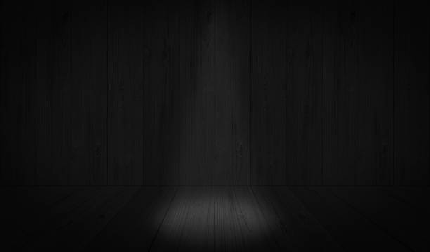 Dark Black studio room background, grey floor backdrop with spotlight stock photo