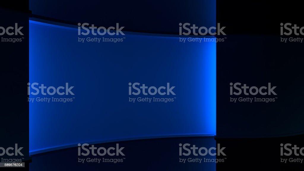 Dark blue background, Blue lighting. blue backlight wall stock photo