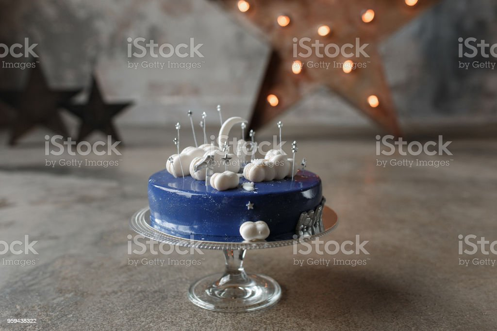 Royalty Free Happy Birthday Cake With White Frosting And Lit Candles