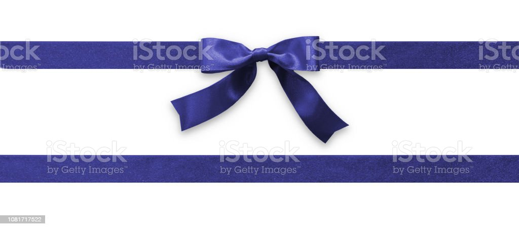 Dark blue bow ribbon band satin navy stripe fabric (isolated on white background with clipping path) for Christmas holiday gift box, greeting card banner, present wrap design decoration ornament stock photo