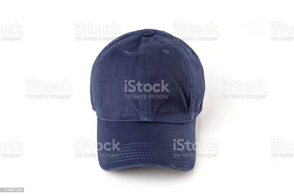 Dark blue cap on the head ready for branding. stock photo