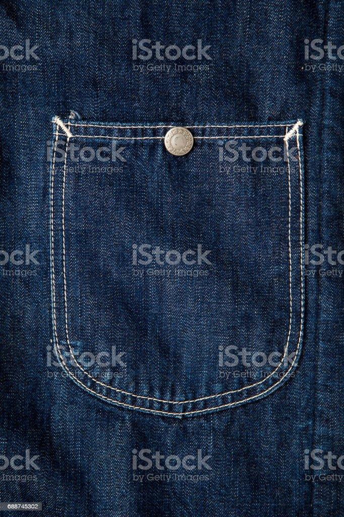 dark blue denim jacket pocket,fabric texture stock photo