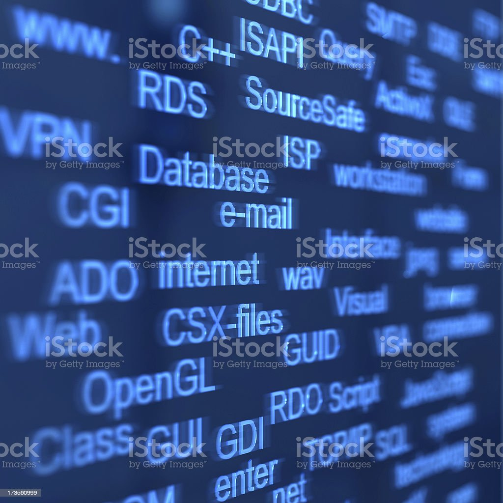 Dark blue digital background with lighter blue words royalty-free stock photo