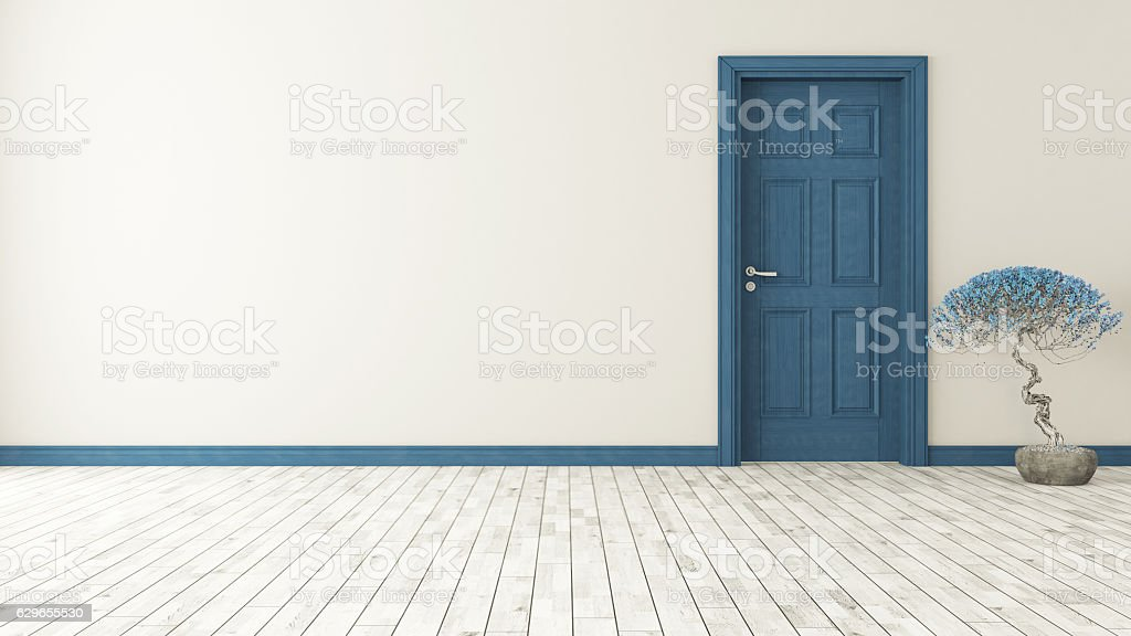 dark blue door with wall stock photo