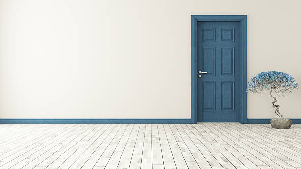 dark blue door with wall - open gate stock photos and pictures
