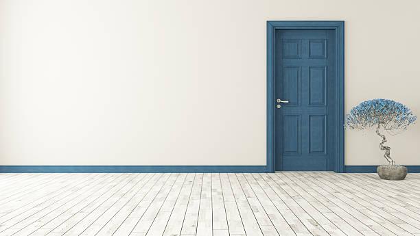 dark blue door with wall stock photo