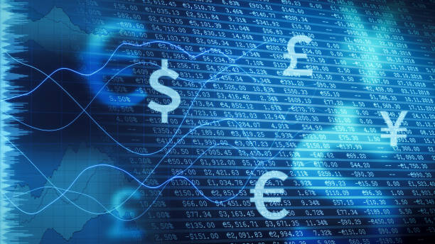 Dark blue financial report with infographics overlay stock photo