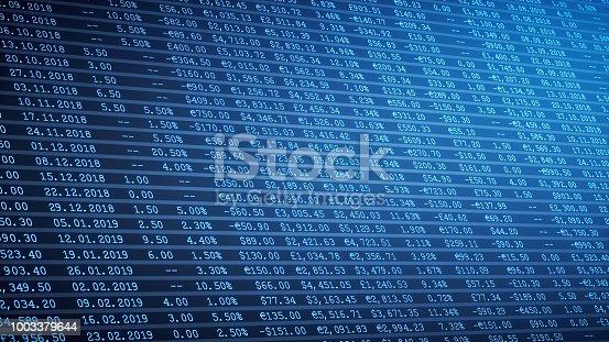 Dark blue financial spreadsheet table report