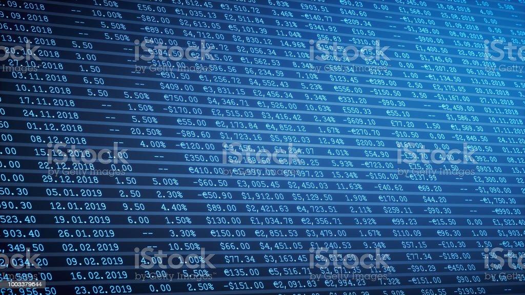 Dunkel blau finanzielle Tabelle Tabellenbericht – Foto