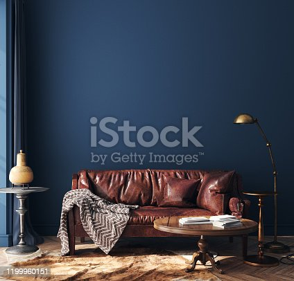 Dark blue home interior with old retro furniture, hipster style, 3d render