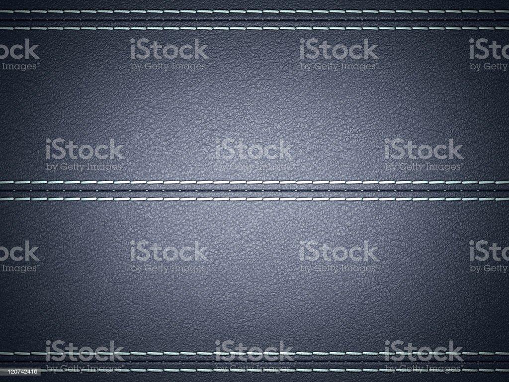 Dark Blue horizontal stitched leather background royalty-free stock photo