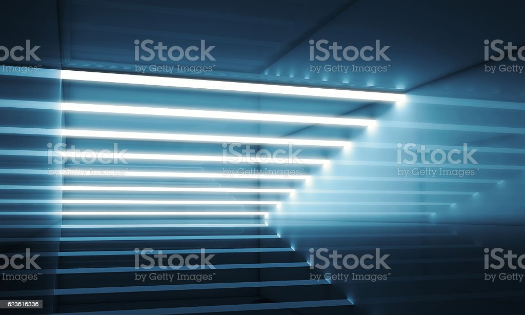 Dark blue interior with stripes of lights 3d stock photo
