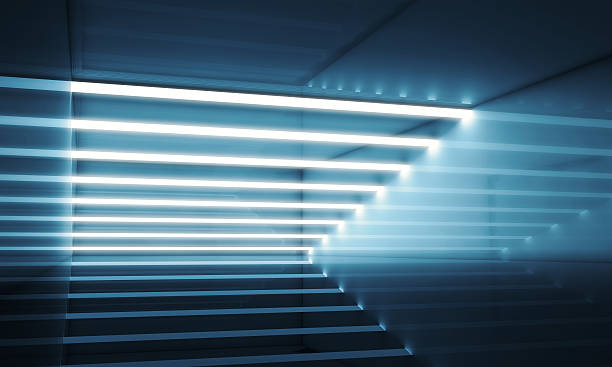 Dark blue interior with stripes of lights 3d - foto de acervo