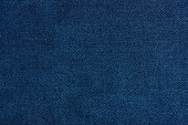 Dark blue jeans texture close up with horizontal thread lines