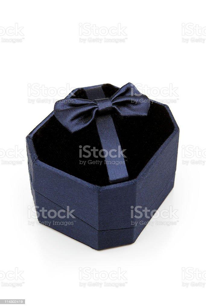 Dark blue jewelery gift box royalty-free stock photo